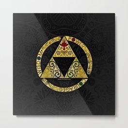 Gold Triforce Circle Metal Print