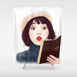French woman with book Shower Curtain