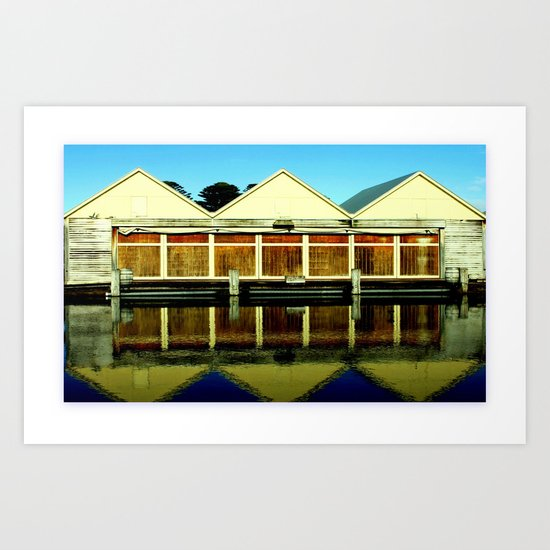 Reflections of an old boat Building! Art Print