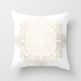 Mandala White Gold Shimmer by Nature Magick Throw Pillow