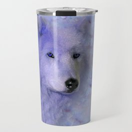 WOLF BLUE LILAC PURPLE FLOWER SPARKLE Travel Mug