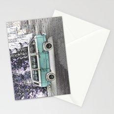 Vintage van. Green Stationery Cards