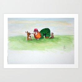 Eye to eye Leprechaun and Rabbit Art Print