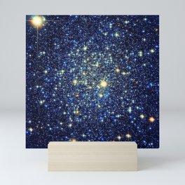 galaxY Stars : Midnight Blue & Gold Mini Art Print