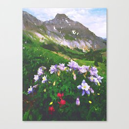 Columbine San Juan Mountains above Ouray, Colorado - Watercolor Effect Canvas Print