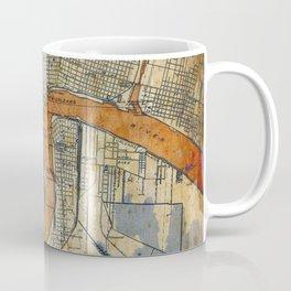 New Orleans Louisiana 1932 vintage map, NO old colorful artwork Coffee Mug