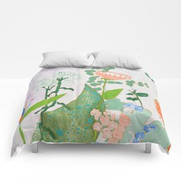 Multi Floral Painting on Pink and White Background Comforters