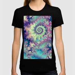 Violet Teal Sea Shells, Abstract Underwater Forest  T-shirt