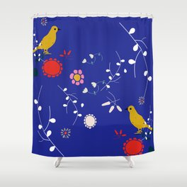 Bird and blossom electric blue Shower Curtain
