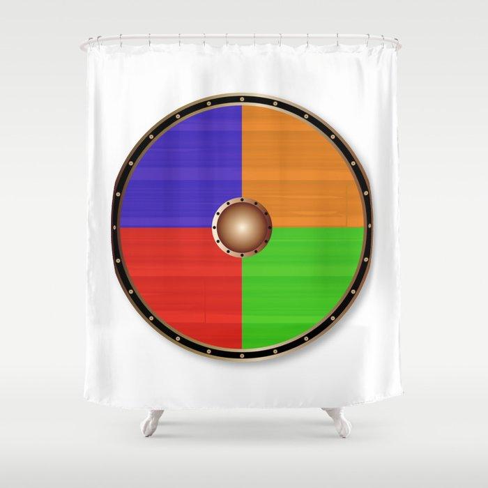 Round Viking Shield Shower Curtain