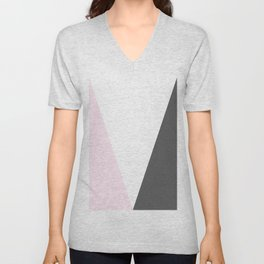 pink and gray geometric Unisex V-Neck