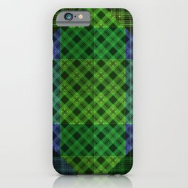 Blue green plaid iPhone Case