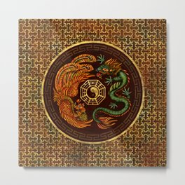 Phoenix and Dragon with bagua #1 Metal Print