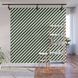 Small Dark Forest Green and White Candy Cane Stripes Wall Mural