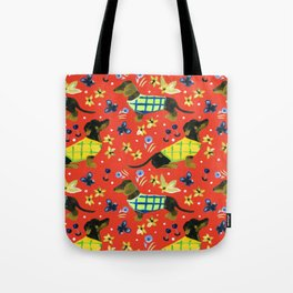 Sweater Weather Dachshund Pattern Tote Bag