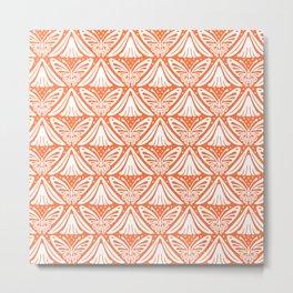 Butterfly and Flower Pattern Orange 2 Metal Print
