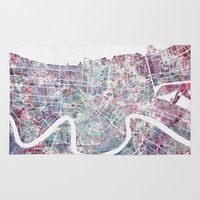 new orleans Area & Throw Rugs featuring New Orleans  by MapMapMaps.Watercolors