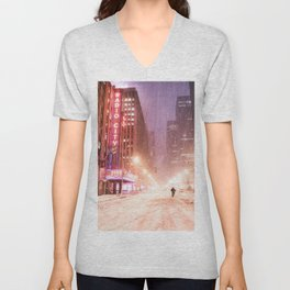 Snowstorm in New York City Unisex V-Neck