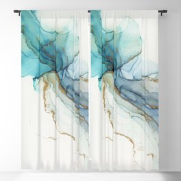 Abstract Jellyfish Alcohol Ink Painting Blackout Curtain