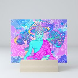 Sitting Buddha among psychedelic Mushrooms Mini Art Print
