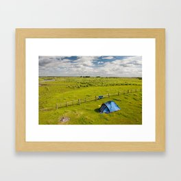 Camping tent and grass expanse Framed Art Print
