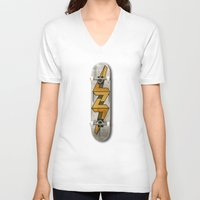 escher V-neck T-shirts featuring Escher Bolt Skate Deck  by Vin Zzep