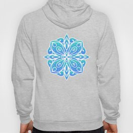 Decorative Layers of Blue Flowers Hoody