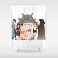 hayao miyazaki Shower Curtains featuring Hayao Miyazaki's Family by Naineuh