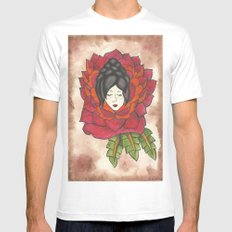 Lady in Rose White Mens Fitted Tee MEDIUM