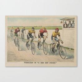 Vintage Cycling Race Illustration (1894) Canvas Print