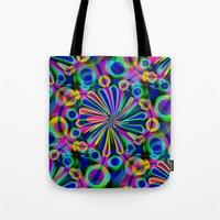 fireworks Tote Bags featuring Fireworks by Sartoris ART