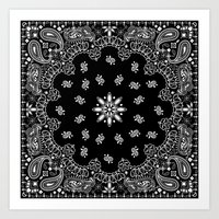 2pac Art Prints featuring black and white bandana by Marta Olga Klara
