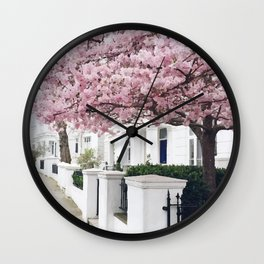White house and pink flowers Wall Clock
