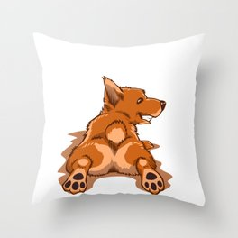Corgi Stretching Sploot Life Splooting Throw Pillow