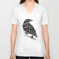 literary V-neck T-shirts featuring Quoth the raven by Literary Mint