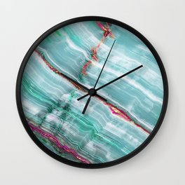 Jade Mint Marble Paint Abstract  Wall Clock