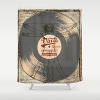 record Shower Curtains featuring VINCI RECORD by alfboc