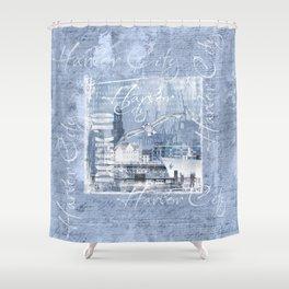 Harbor City Hamburg Germany mixed media Art Shower Curtain