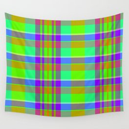 Chatreuse Trail Plaid Wall Tapestry