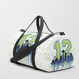 Seattle 12th Man Art Skyline Watercolor Duffle Bag