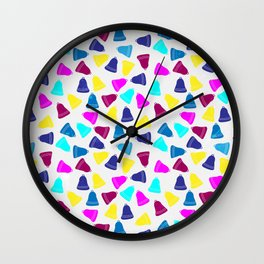 Colorful neon pink teal blue Christmas bells Wall Clock
