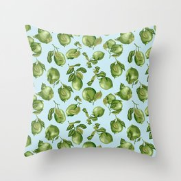 Vintage lime Fruits with Light Blue Background Throw Pillow