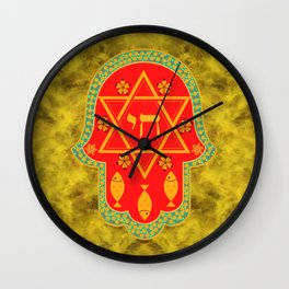Hamsa for blessings, protection and strength - gold and red watercolor Wall Clock