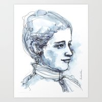 Portrait of a Girl, watercolor and ink Art Print