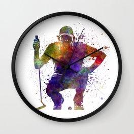 man golfer crouching  silhouette Wall Clock