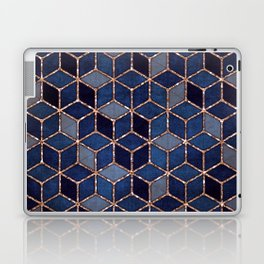 Shades Of Purple & Blue Cubes Pattern Laptop & iPad Skin