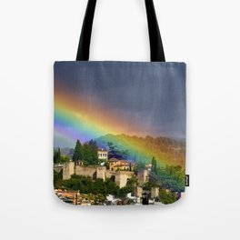 Rainbow over Dar alHorra Palace at Granada. Spain Tote Bag