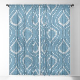 Flame Trellis in Blue and White Sheer Curtain