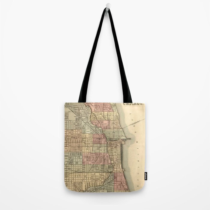 Vintage Map Of Chicago Tote Bag