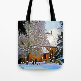 Warmth of a Church in Winter.  Tote Bag